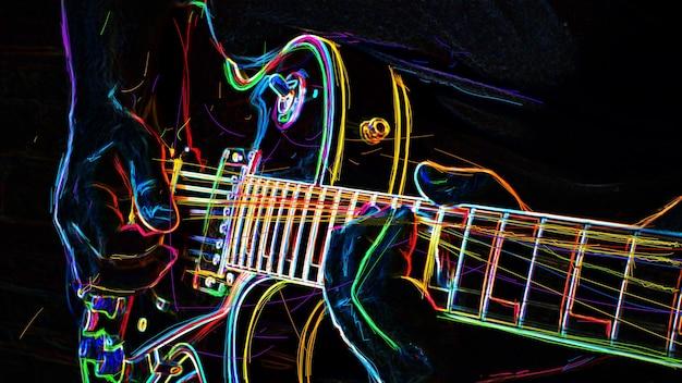 Музыкант играет на электрогитаре. абстрактная цветная неоновая живопись.