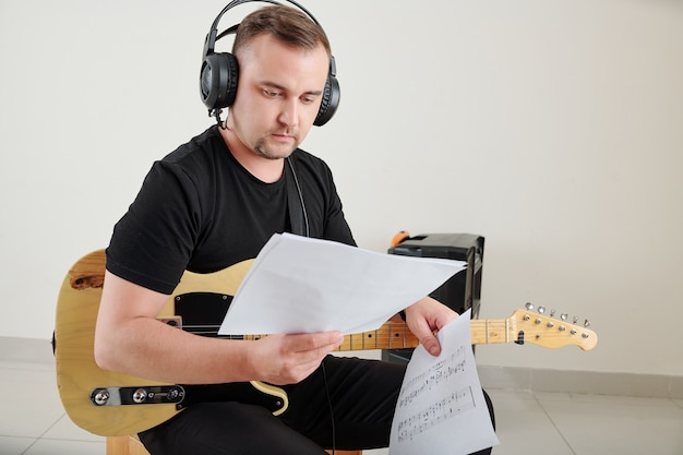 Musician reading notes