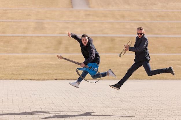 Musicians jumping