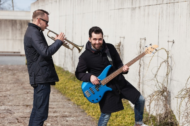 Musicians playing outside