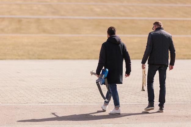 Musicians walking