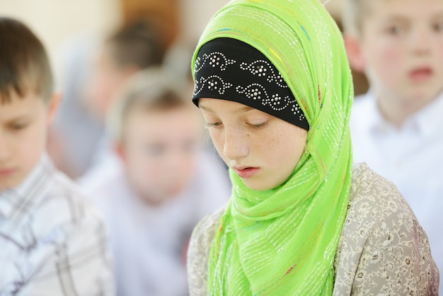 Muslim and arabic girls learning together in group