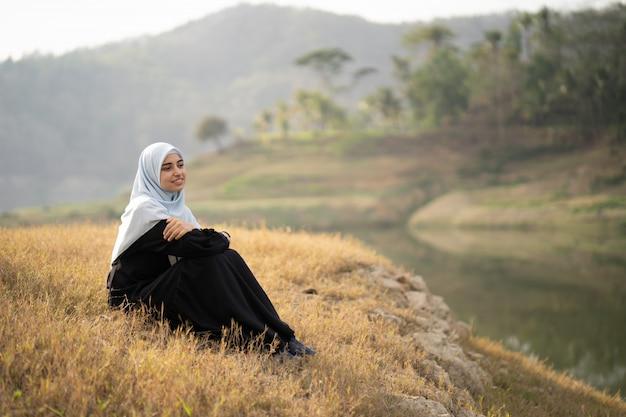 Muslim arabic woman at beautiful outdoor