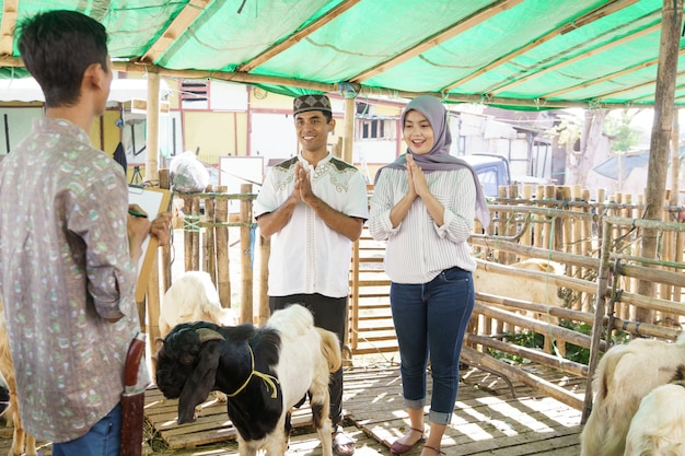 Мусульманская пара на животноводческой ферме покупает козу для церемонии жертвоприношения в ид адха