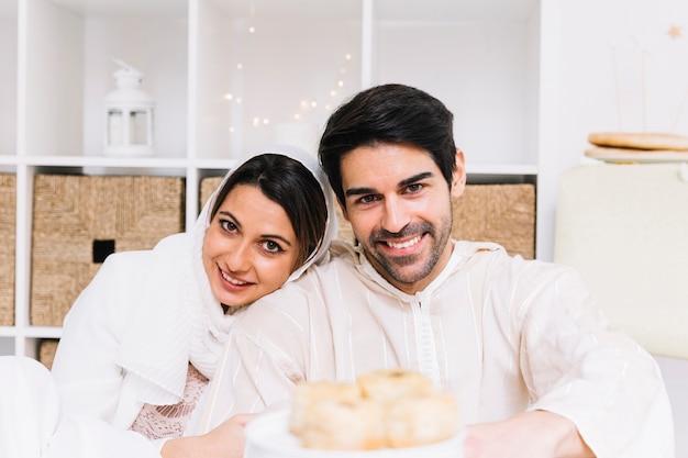 Muslim couple celebrating eid al-fitr