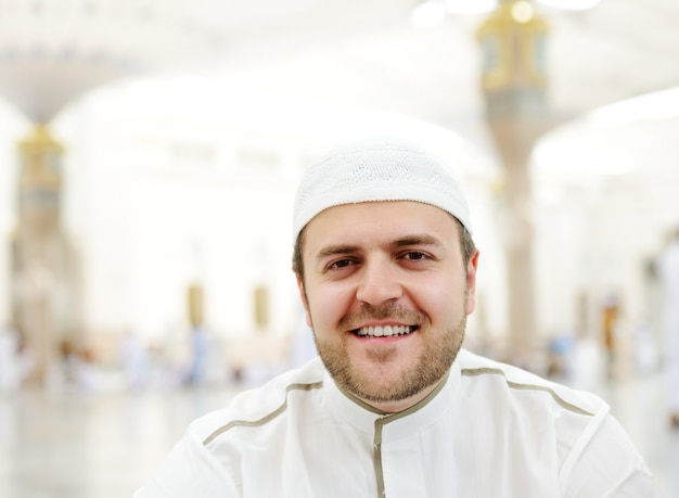 Muslim man visiting the holy places