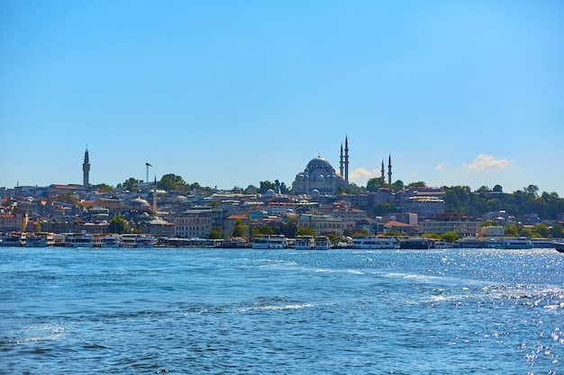 Muslim mosque in turkey. view from the bosphorus