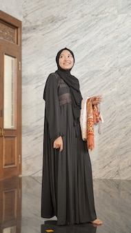 Muslim woman after worship at the mosque