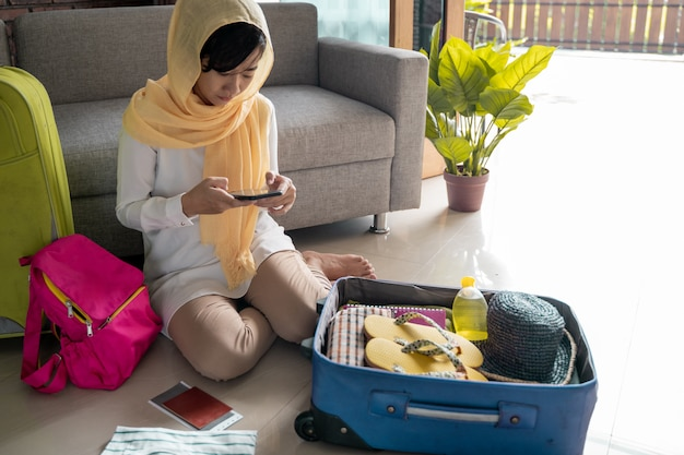 Muslim woman travelling concept