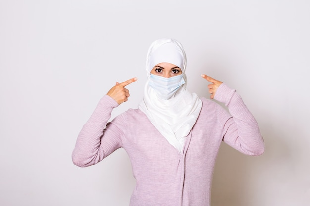 Muslim woman wearing face protective mask to prevent coronavirus and anti-smog.