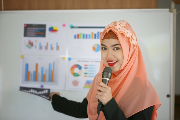 Muslim women doing presentation with chart and graph.