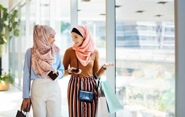 Muslim women shopping together on the weekend