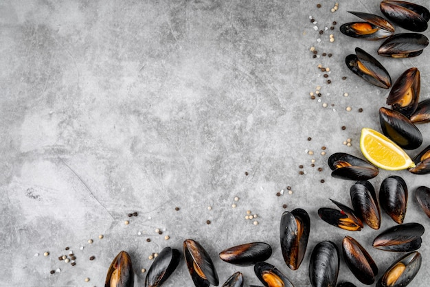 Mussels arrangement with copy space