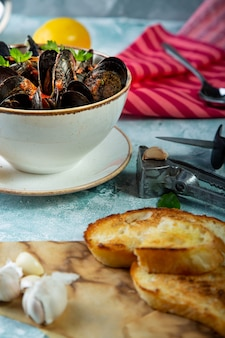 Mussels in plate served with tomatos, toast and lemon