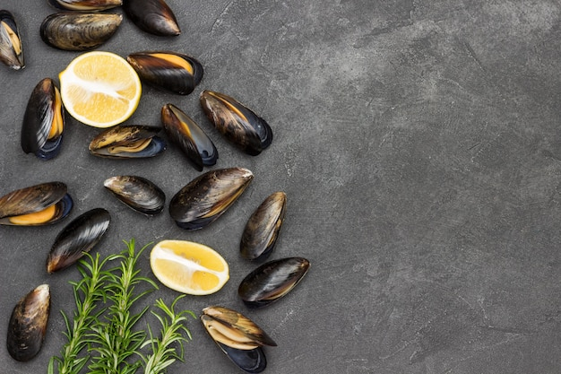 Mussels with lemon and rosemary are scattered on table. shellfish seafood. flat lay