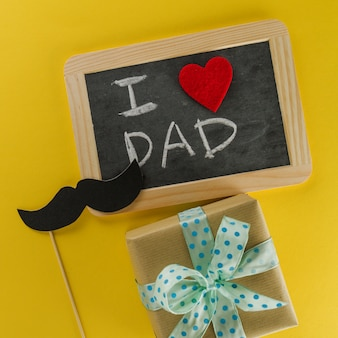 Mustache, present and slate for father's day