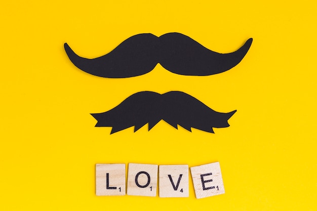 Mustache with text love on bright background