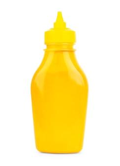 Mustard bottle on a white background