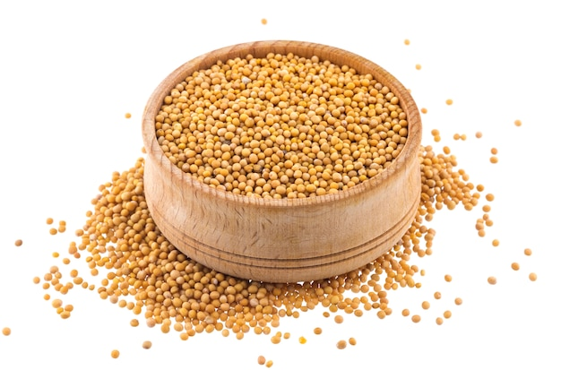 Mustard seeds isolated on white background