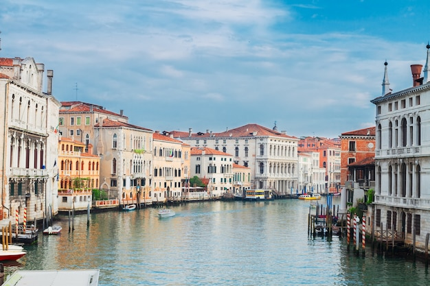 Muticolored venice houses over water of grand canal, italy