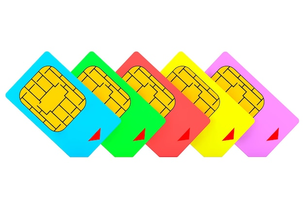 Mutlicolored sim cards on a white background