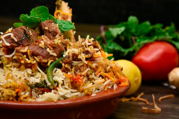 Mutton biryani food photography