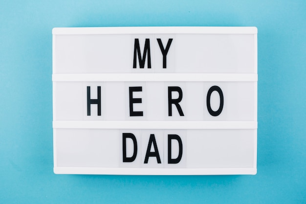 My hero dad title on tablet