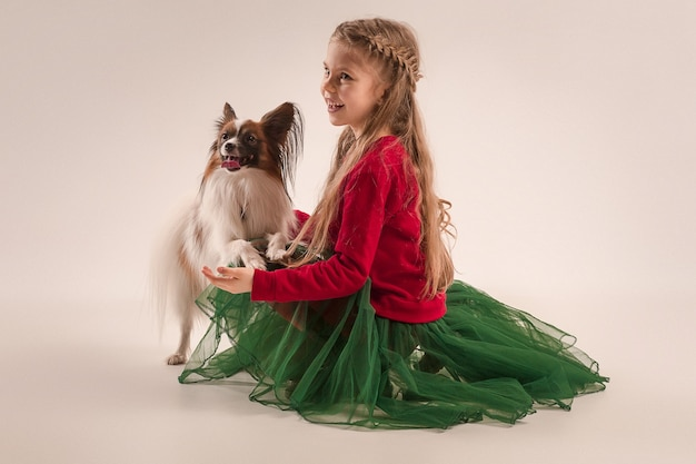 My little friend. studio shot of a small yawning puppy papillon on gray background with little teen girl at studio. love to the animals concept. young caucasian fashion model.