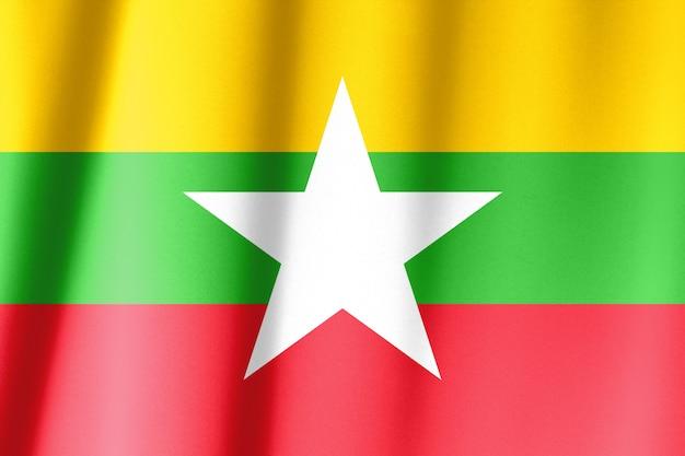 Мьянма флаг рисунок на текстуру ткани, винтажный стиль Premium Фотографии