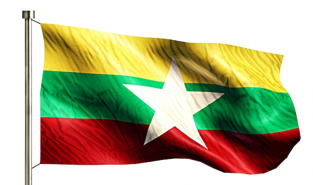 Myanmar national flag isolated 3d white background