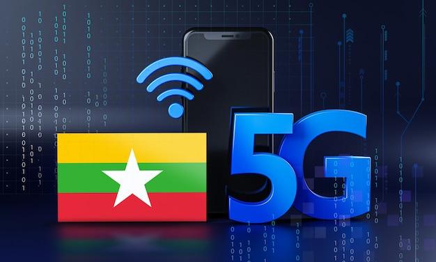 Мьянма готова к концепции подключения 5g. 3d визуализация смартфон технологии фона