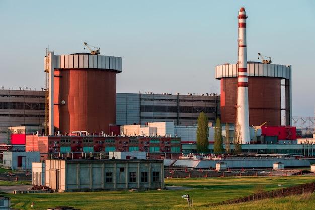 Mykolaiv nuclear power plant at sunset