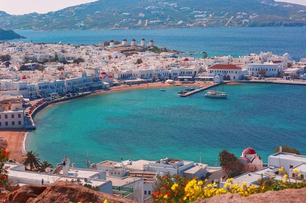 Город миконос, хора на острове миконос, греция