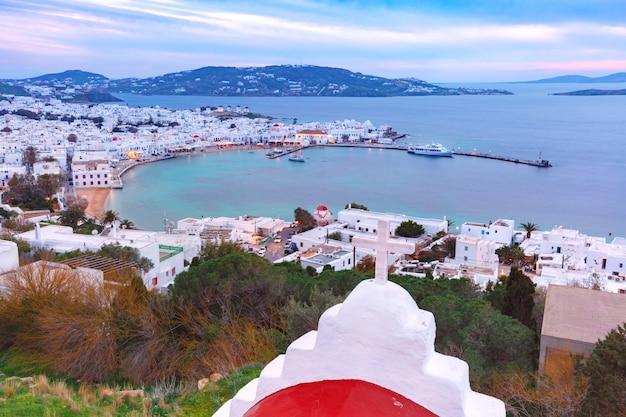 ミコノスシティ、島ミラノス島、ギリシャのチョーラ