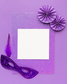 Mysterious carnival mask empty paper with violet frame