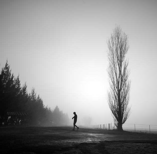 Mysterious greyscale shot of a male walking in a foggy scary field