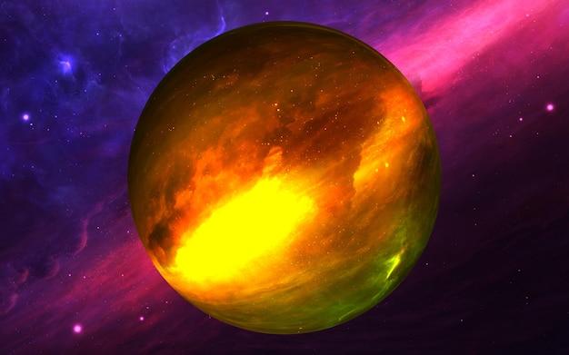 Таинственная планета в космосе, спутник звезды. планета суперземля, реалистичная экзопланета, подходящая для колонизации, планета земного типа в далеком космосе, 3d визуализация