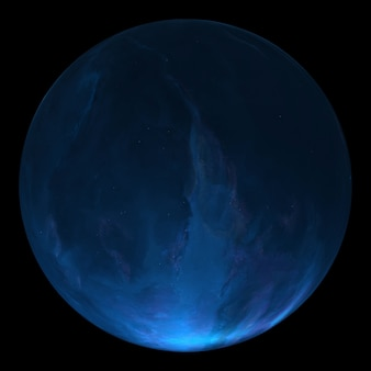Mysterious planet in space, satellite of a star. super-earth planet, realistic exoplanet suitable for colonization, earth-like planet in far space, 3d render