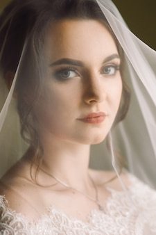 Mysterious portrait of a bride hidden under the veil