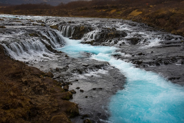 The mystery of the blue waterfall ,bruarfoss