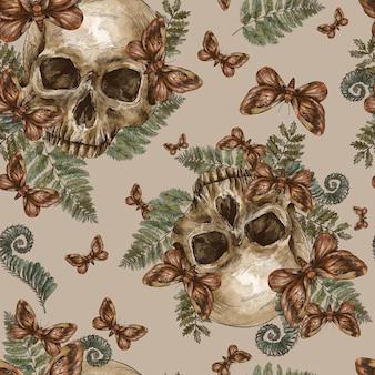 Mystic skull vintage seamless pattern, moth death, fern texture. witchcraft hand-drawn wallpaper.