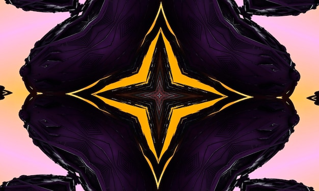 紺色の背景の神秘的な十字架神秘的なイメージのさまざまな兆候。画像や動画に最適な背景アートワーク。黄色いネオンがきらめきます。