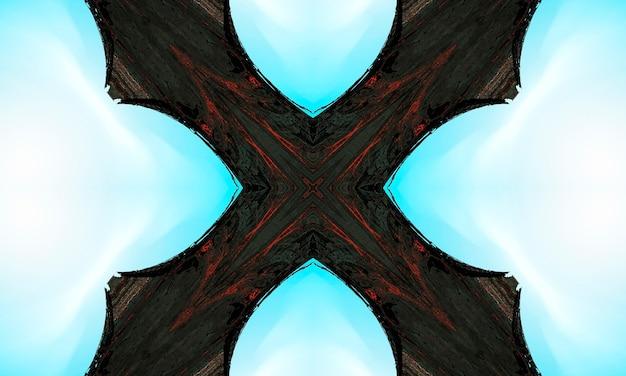 紺色の背景の神秘的な十字架神秘的なイメージのさまざまな兆候。画像や動画に最適な背景アートワーク。