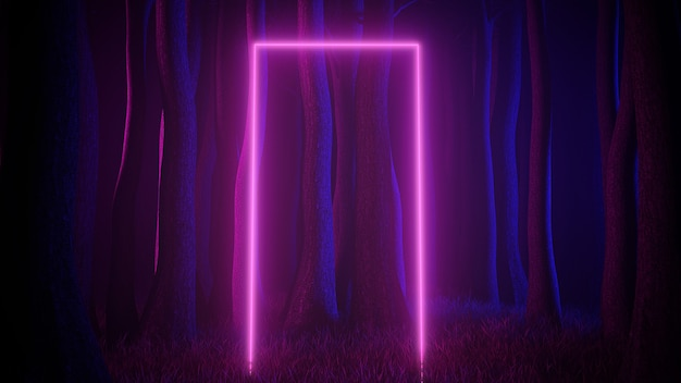 Mystical foggy forest in ultra violet neon lighting with light trails portal. dark and mysterious scene. 3d illustration