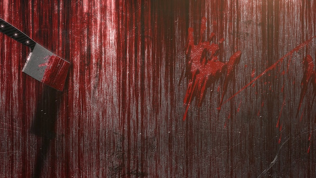 Mystical horror background with dark blood, abstract backdrop. luxury and elegant 3d illustration of horror and halloween theme