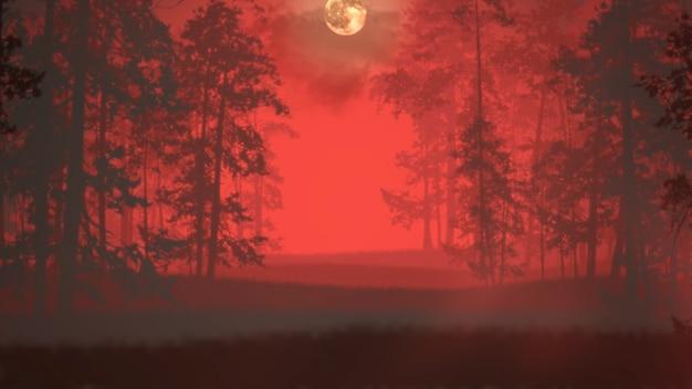 暗い血の森と霧、抽象的な背景と神秘的な恐怖の背景。ホラーとハロウィーンのテーマの豪華でエレガントな3dイラスト