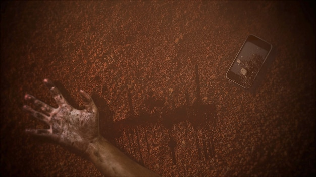 Мистический фон ужасов с темной кровью, руками и телефоном. праздник хэллоуин абстрактный фон. роскошная и элегантная 3d иллюстрация темы хэллоуина