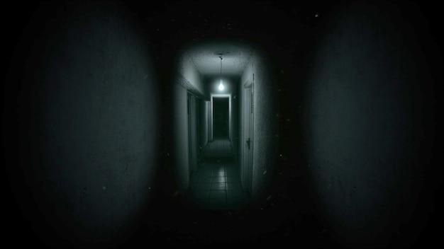 방의 어두운 홀이 있는 신비로운 공포 배경. 휴일 할로윈 추상적인 배경입니다. 할로윈 테마의 고급스럽고 우아한 3d 일러스트