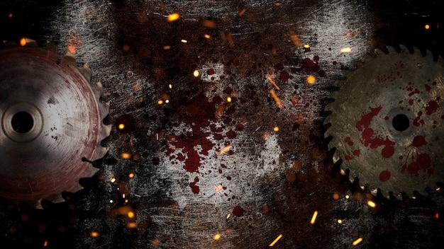 Мистический фон ужасов с электрической пилой и темной кровью. праздник хэллоуин абстрактный фон. роскошная и элегантная 3d иллюстрация темы хэллоуина