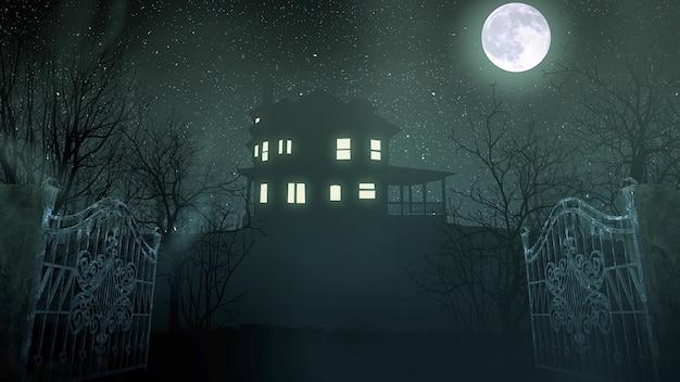 Мистический фон ужасов с домом и луной, абстрактный фон. роскошная и элегантная 3d иллюстрация ужасов и темы хэллоуина